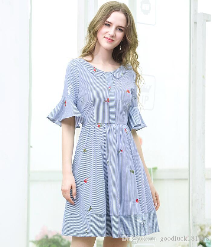 751b6042222 2019 Summer Women S Fashion Blue White Striped Shirt Dresses Ladies   Elegant Trumpet Sleeve Embroidery Dresses Girls Butterfly Knot Short Sleeve  From ...