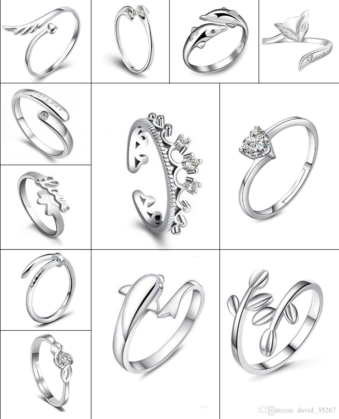 15types Silve Rings Crow Dolphins Dragonfly Horse Wing Fox Heart ...