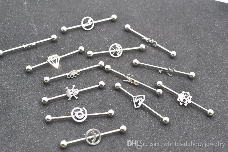 LotSurgical Steel Piercing Barbells 14G Logos Scaffold Industrial Straight Bar Upper Earring Helix Barbell Body Jewelry