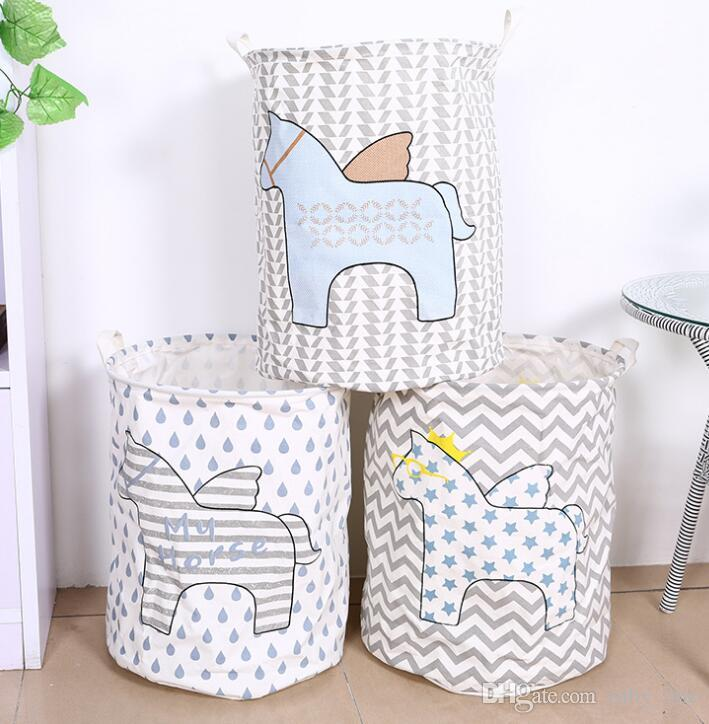 Superbe Online Cheap Kids Toy Storage Horse Storage Canvas Bags Room Organizer  Folding Baby Clothes Laundry Bag With Handle Aundry Basket Kka1666 By  Ruby_one ...