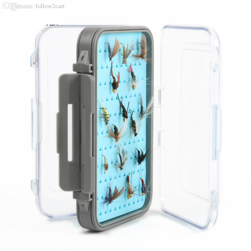 Clear Lid Visible Plastic Waterproof Silicone Insert Fly Lures Tackle Box 148x95x42mm Easy-grip Double Side Fly Fishing Box No Flies Blue