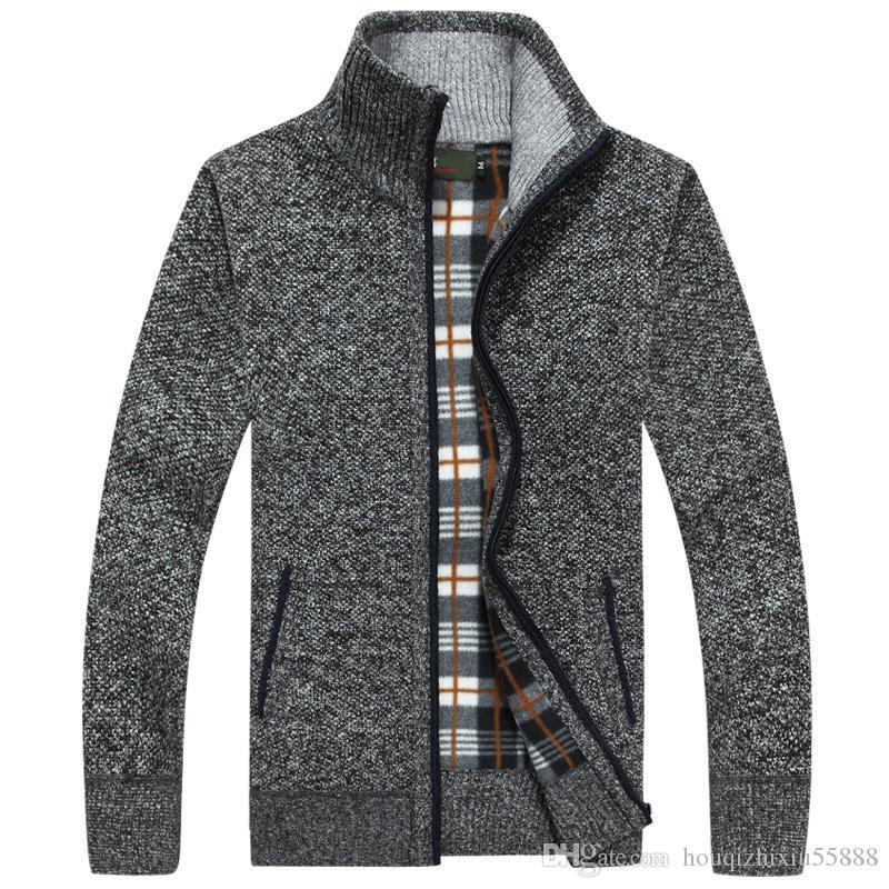 Suéteres Hombres Invierno Cardigan Cálido Terciopelo Grueso Cashmere Zipper Mandarin Collar Hombre Ropa Casual Patrón Prendas de Punto Tamaño Grande 3xl