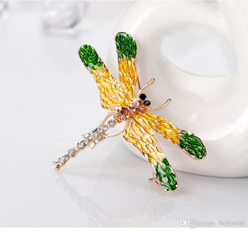 Insect Series High Grade Women Korean Cartoon Alloy Painted Enamal Rhinestone Brooches Pin Dragonfly Corsage Girl Accessory