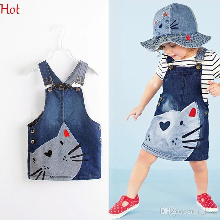 5735534397f 2019 Summer Hot Baby Girls Overall Cat Printed Suspender Dress Jeans Summer  Brace Dresses Straps Casual Pocket Denim Kids Dress SV019725 SV019725 From  ...