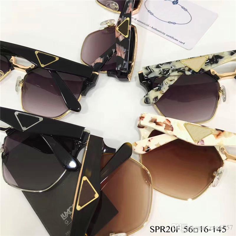 Design italien mode lunettes PD 20T cadre cadre carré demi et de qualité supérieure en métal de conception spéciale avec la boîte style populaire en plein air