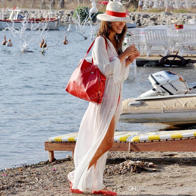 New Hot Womens White Chiffon Bikini Coverups Split Maxi Long Sleeves Robe Soft Smooth Casual Boho High Quality Vacation Beachwear Dress