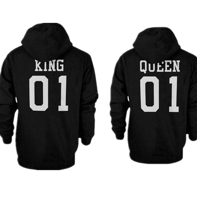 2018 2106 fashion king queen hoodie couple pullover. Black Bedroom Furniture Sets. Home Design Ideas