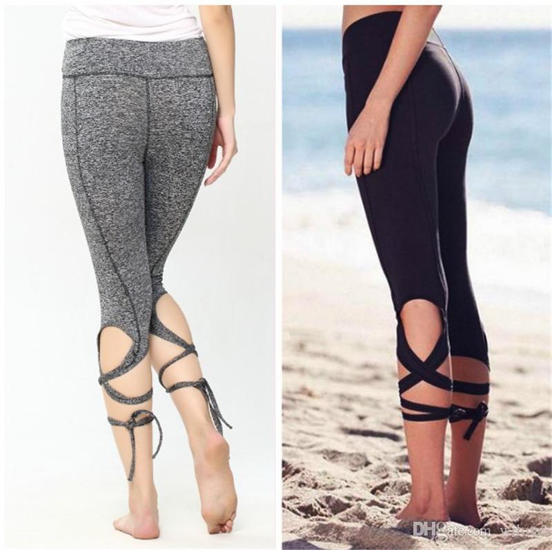 Leggings le donne di moda Avvolgimento sexy Legging Yoga Sport Leggings Pantaloni Fitness Gym Legging Dance Ballet Tie Wrap Bandage