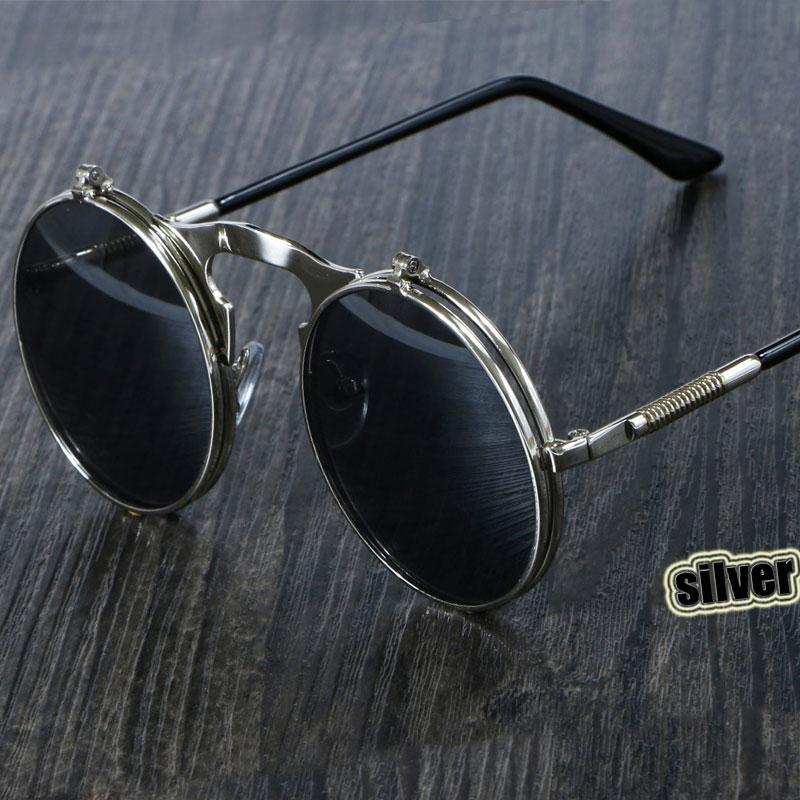 0ed7b0ecf5 Steampunk Sunglasses Round Metal OCULOS De Sol Women Style Retro Flip  Circular Double Metal Sun Glasses Men CIRCLE SUN GLASSES Womens Sunglasses  Sunglasses ...
