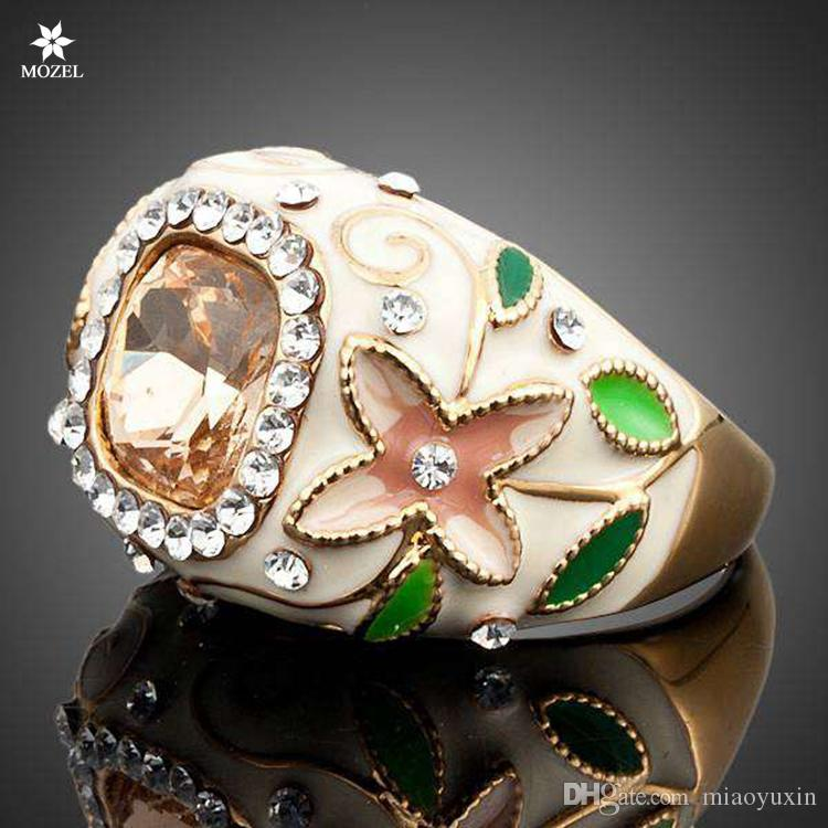 Wholesale MOZEL Fashion Jewelry Gold Plated Swarovski Crystal Flower and Green Leaves Design Women Ring TR0004