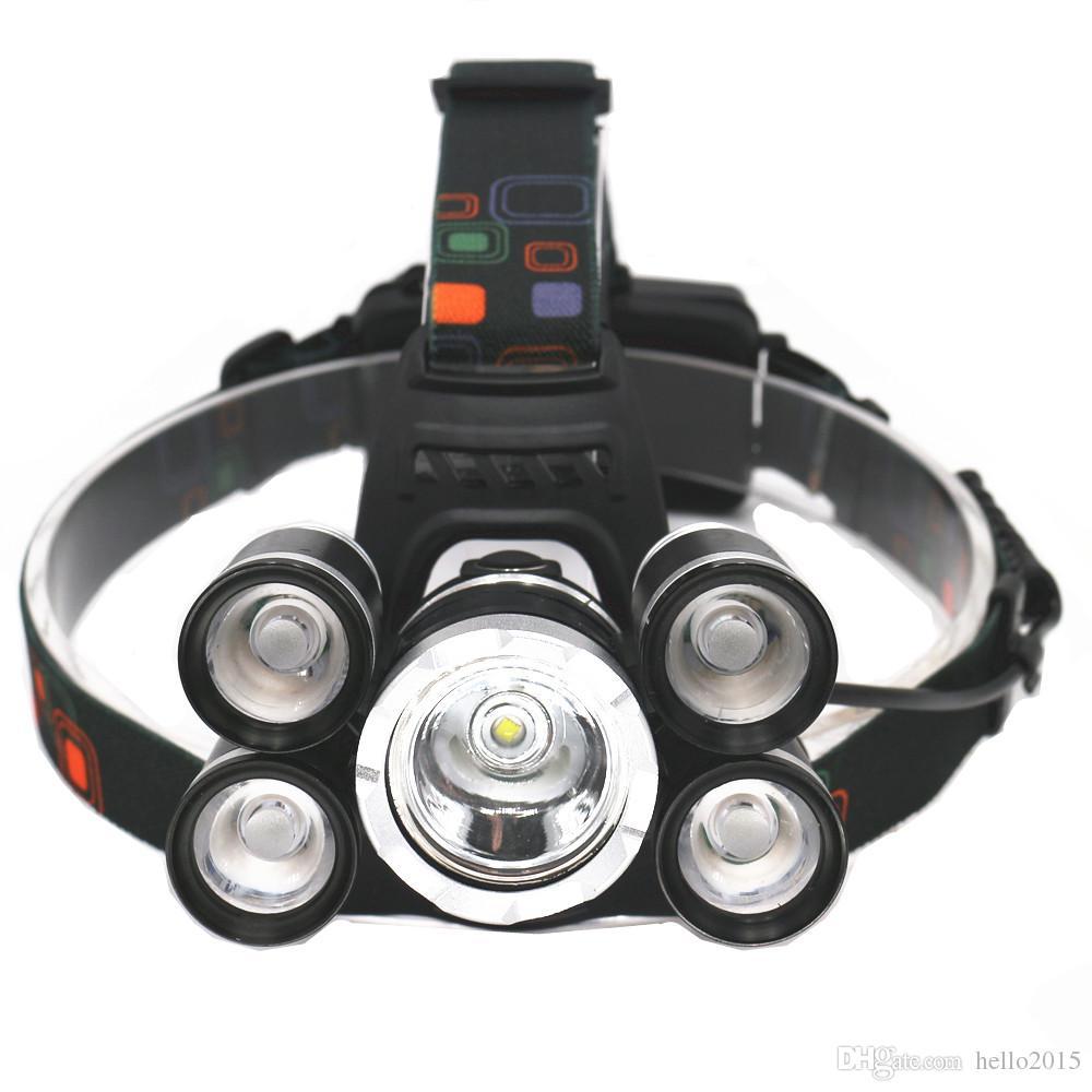 18000LM T6 + 4 * XPE LED Lampada frontale 5LEDs Faro impermeabile Lampada carica caricabatterie Caccia