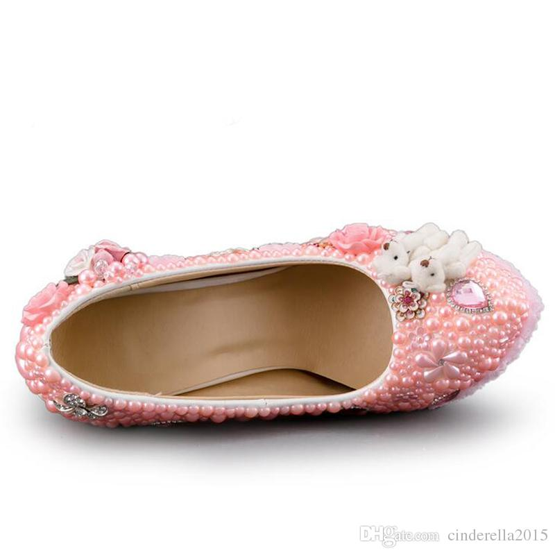 Düğün Yüksek Topuk Ayakkabı Muhteşem Tasarım Kristal Gelin Elbise Ayakkabı Pembe Renk Inci Dantel Çiçek Platformu Doğum Günü Partisi Pompaları