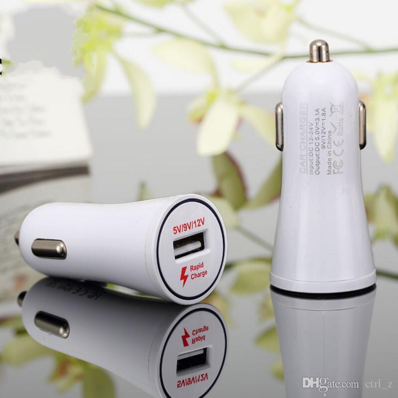 Adaptador de carregador de carro duplo dc 5 v / 9 v / 12 v carregador rápido qc 2.0 cigarro eletrônico carregador de carro universal para iphone samsung telefones celulares