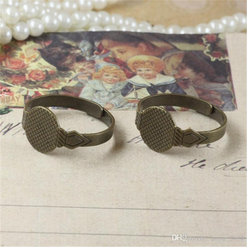 BOYUTE 10mm Cabochon Base Ring Setting Antique Bronze Plated Adjustable Ring Base Jewelry Findings & Components