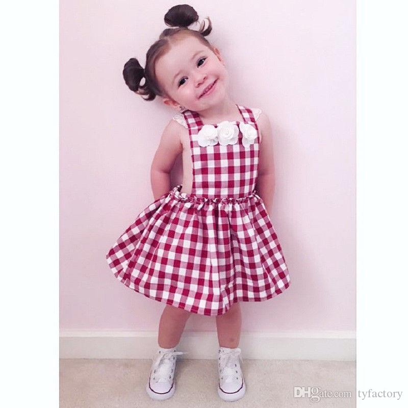 ce0d08d9c 2019 Cute Toddler Kids Girls Red Princess Plaid Flower Summer ...