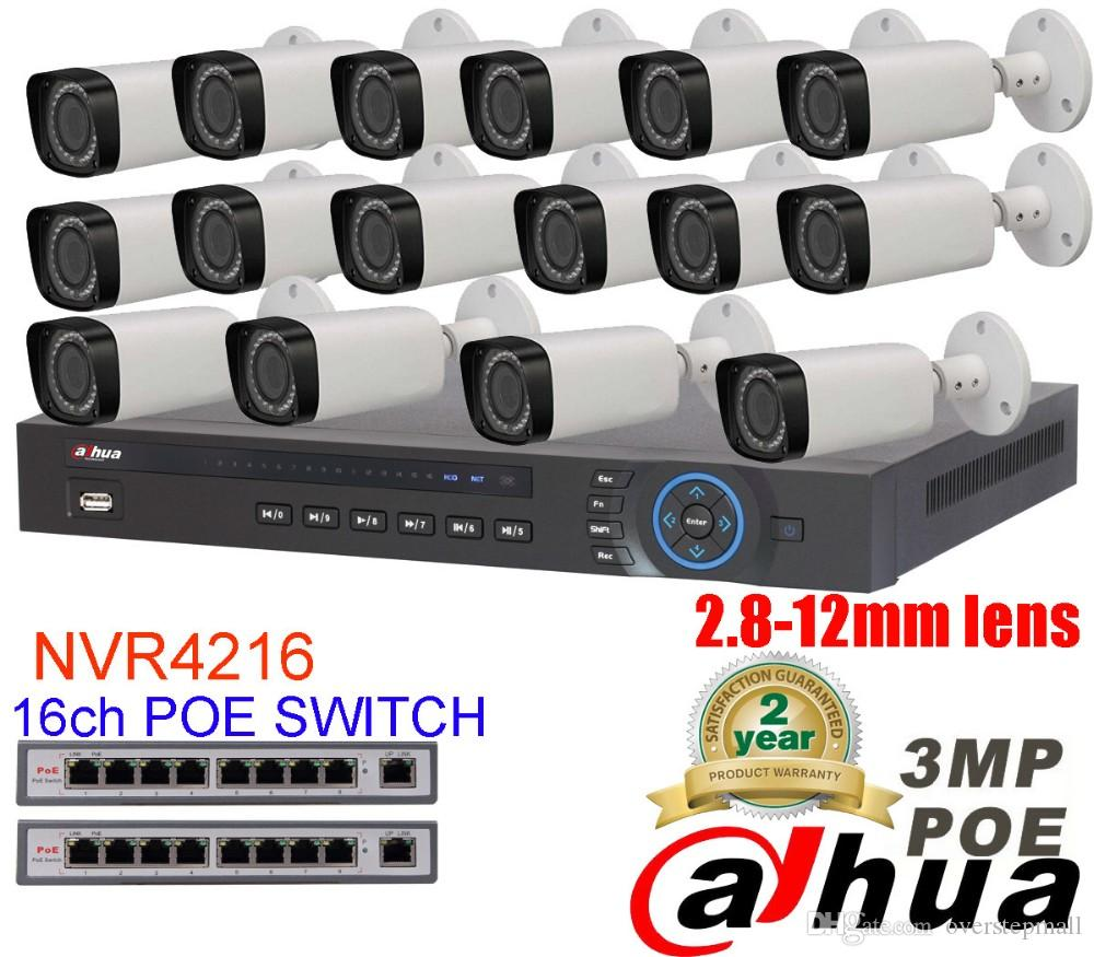 Dahua 16CH 5MP POE Kit POE NVR4232 16PCS 3mp POE IP Camera IPC-HFW4300R-Z  P2P Cloud Service CCTV System Video Surveillance