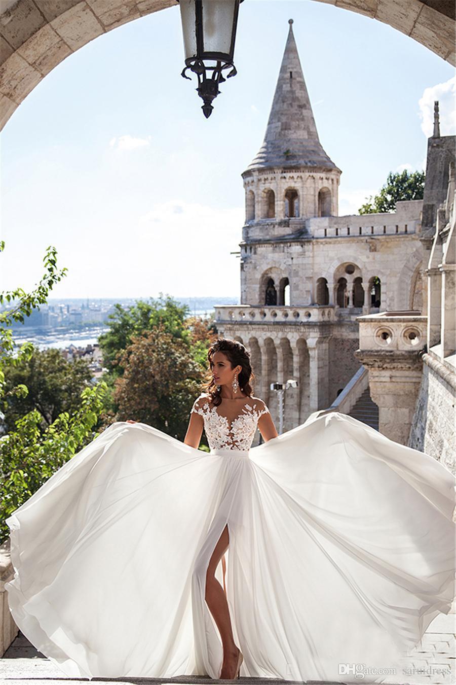 Новые поступления Sexy Sheer шеи Облегающие высокими разрезами Алине рукавов Свадебные платья Дешевые Мода Элегантный Кружева Long Beach Свадебные платья