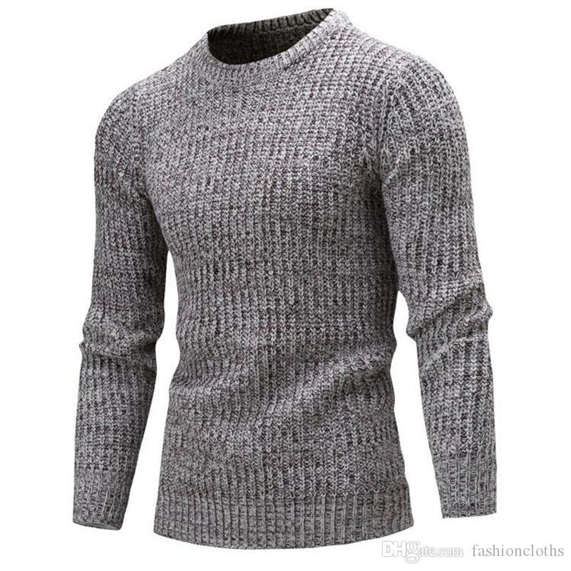 Compre Nueva Moda Suéter Hombres 2017 Invierno Marca Suéter Casual Suéter  Masculino O Cuello Sólido Simple Slim Fit Tejido Suéteres Para Hombre Hombre  A ... 47ce3f79e3aa