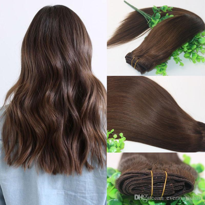 8a Clips Human Hair Extension 4 Dark Brown Straight Brazilian Human