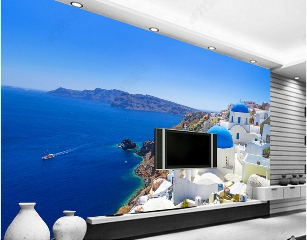 décor 3d chambre fond d'écran personnalisés photo murale mer amour grec château blanc TV peinture image peintures murales 3d fond d'écran pour les murs 3 d