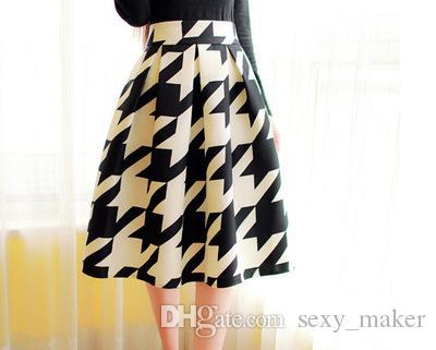 Falda midi plisada de cintura alta es Mujeres Faldas largas con estampado floral Faldas de invierno Faldas largas Saia feminina