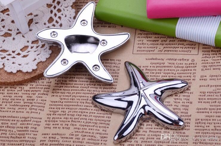 LIVRAISON GRATUITE par DHL, FEDEX, UPS /  + finition argent Starfish Design ouvre-bouteille Beach Wedding Favors Party Giveaway
