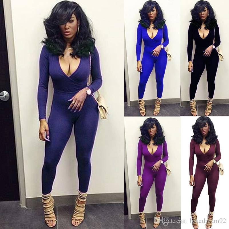 82d7622e23d8 2019 Long Sleeved Rompers V Neck Tight Plus Size Bodysuit Jumpsuits For  Women Casual Sport Jumpsuit Designer Womens Bodysuits Sexy Club Outfits From  ...