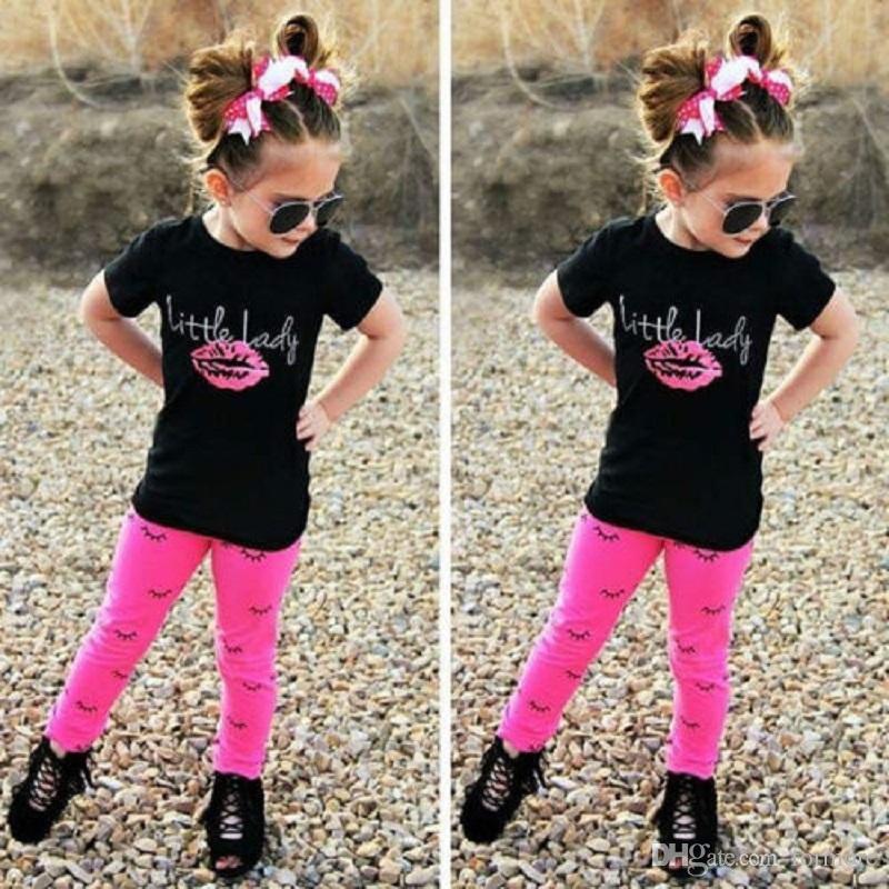 Toddler Girl Clothing Set Newborn BABY ClothesTeen Kid Boutique Tracksuit Short Sleeve Shirt Trouser Legging Pink Pants Sport Suit Playsuit