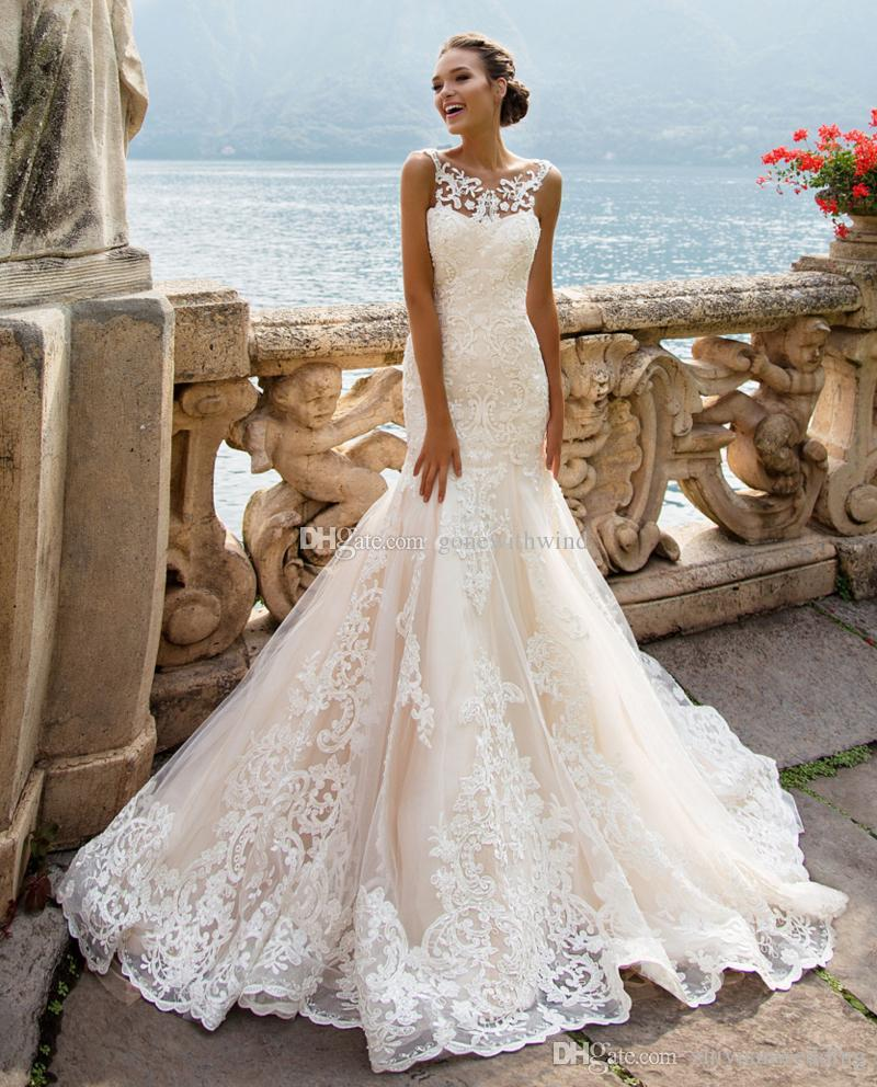 Magnificent Lace Sleeveless Mermaid Wedding Gowns 2017 Milla Nova ...