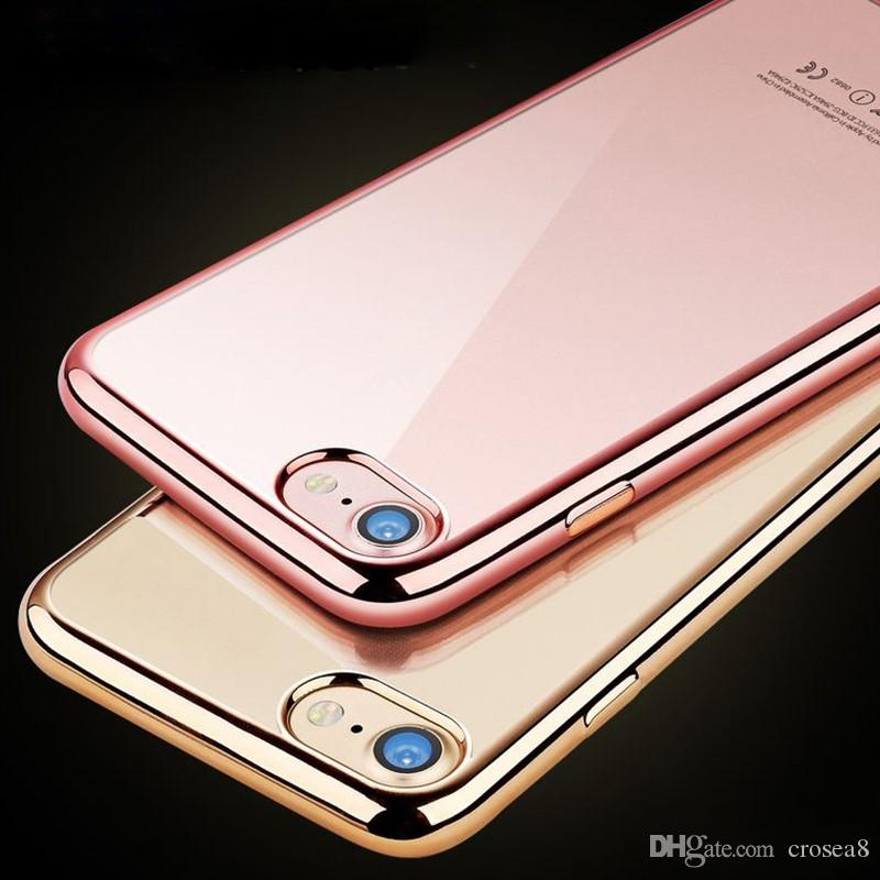 717a405f9ec Luxury Gold Plating Crystal Clear Case For Apple Iphone XS MAX XR 8 7 6 6S  Plus Transparent TPU Soft Silicone Phone Bag Cover Cell Phone Cases  Wholesale ...