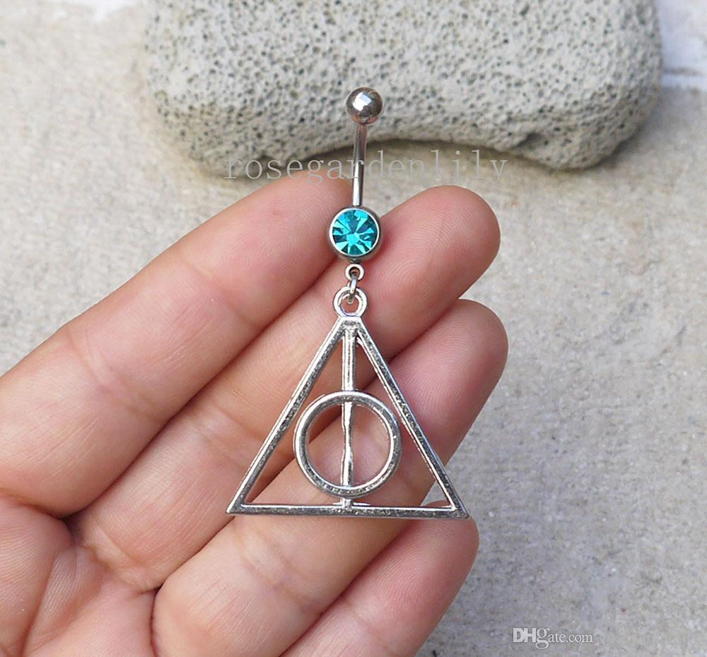New 2pcs Silvery Triangle Button Ring Silver Belly Button Rings Navel Piercing Dangle Be14g Belly Ring Body Jewelry