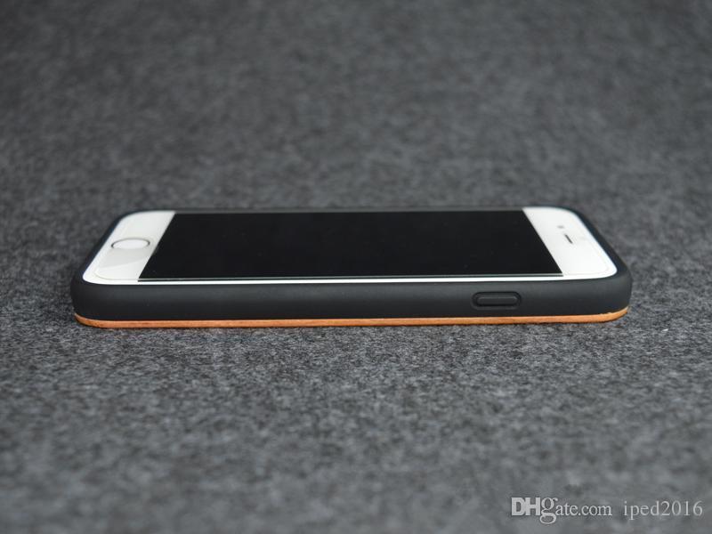 Gros cas de téléphone de TPU de cerise en bois pour iPhone6 / 6s 6plus Galaxy s6 Real couverture en bois naturelle antichoc mobile téléphone mat cas de tpu