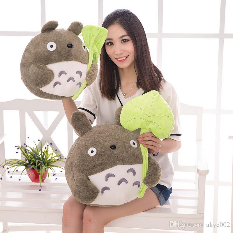 """8"""" 20cm lovely plush toy my neighbor totoro plush toy cute soft doll totoro with lotus leaf kids toys Cat wholesale"""