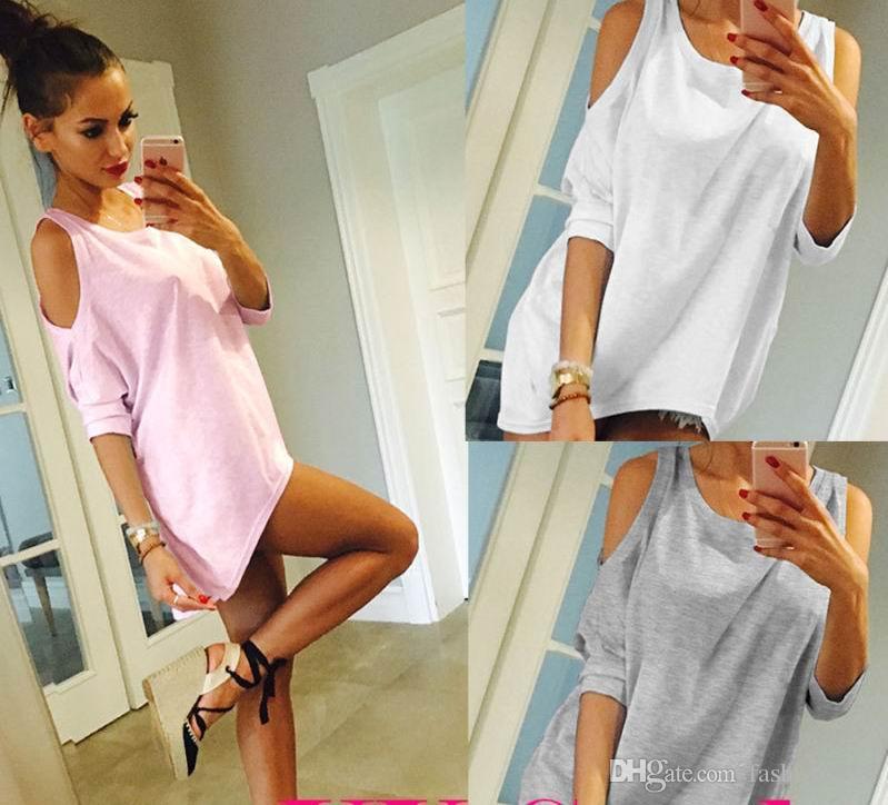 2f90df869 Compre Das Mulheres Fora Do Ombro Camisa Solta Moda Feminina Verão Blusa  Casual Top Camisa De Fashionwest