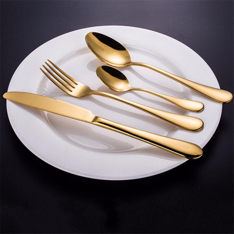 Top Selling Stainless Steel Golden Western Food Dinnerware Cutlery Fork Knife u0026Scoop Tableware Cutlery Set Plastic Dinnerware Sets Popular Dinnerware Sets ... & Top Selling Stainless Steel Golden Western Food Dinnerware Cutlery ...