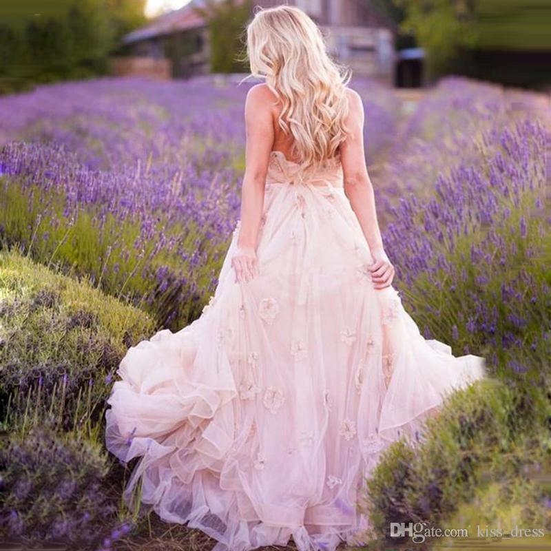 Abiti da sposa di maternità rosa romantici 2019 Nuovo arrivo Applique SweetHerat Empire Incinta Abiti Bridal Bridal Ruffled Bowns personalizzati su misura W1606