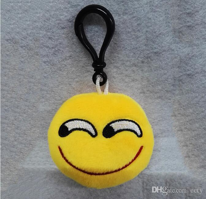 New 14 Design Key Chain Gifts Emoji Keychains Smiley Small pendant Emotion Yellow QQ Expression Stuffed Plush doll toy for bag pendant
