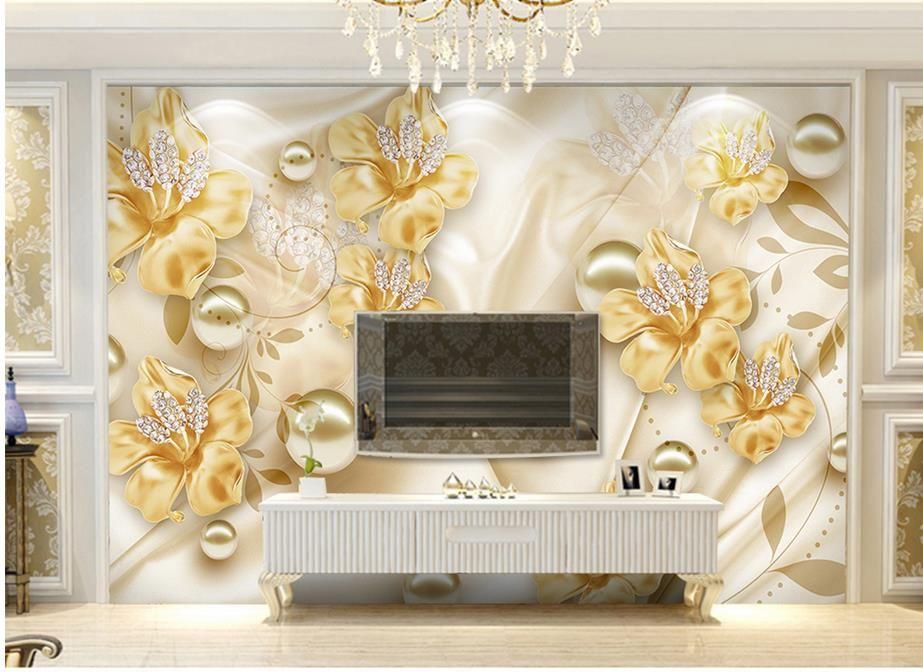 Flores jóias 3D parede de fundo TV estética mural 3d papel de parede 3d papéis de parede para TV pano de fundo