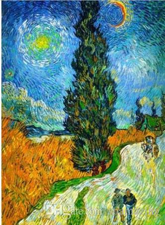 Framed Vincent Van Gogh Road with Cypresses,Pure Handpainted Art Oil Painting On Canvas Wall Decor Multi Sizes Vg019