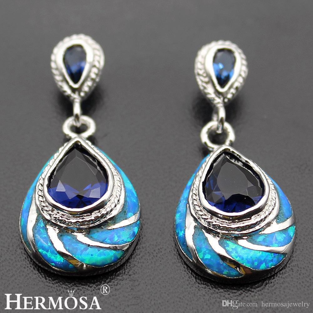 Mystic Blue Opal Women Earrings 925 Sterling Silver Natural Gemstone Beauty Women Genuine Stud Ear Wedding Prom Gifts