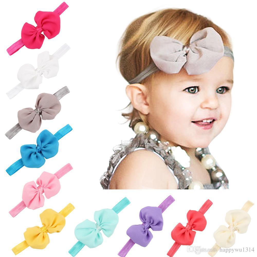 Infant Bow Headbands Baby Girls Chiffon Flower Hair Bands Kids ...