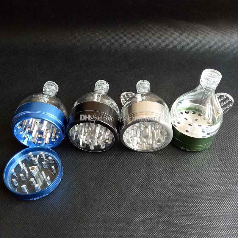 알루미늄 금속 깔때기 그라인더 4 부품 색상 흡연 도구 담배 허브 양념 분쇄기 손 크래커 뮬러 그라인더 abrader 액세서리