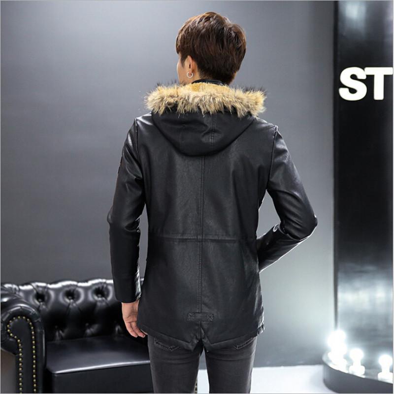 Hommes Vestes En Cuir Avec Col De Fourrure 2016 Plus La Taille Noir Brun Stand Col Capuche Automne Printemps Épaissir Manteaux Pour Hommes M1413