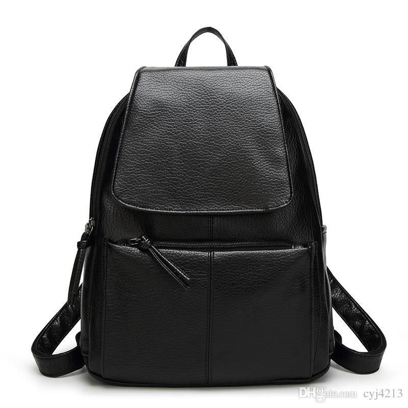 Hot Sale Famous Designer Brand Leather Casual Backpacks Women ...
