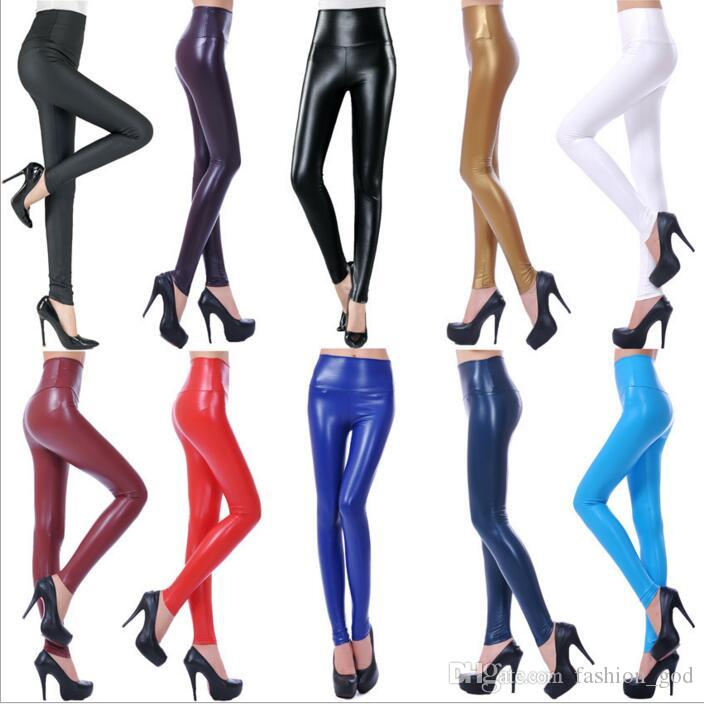e03eb3f36e6 High Waist Leggings PU Leather Skinny Jeggings Plus Size Slim Pencil ...