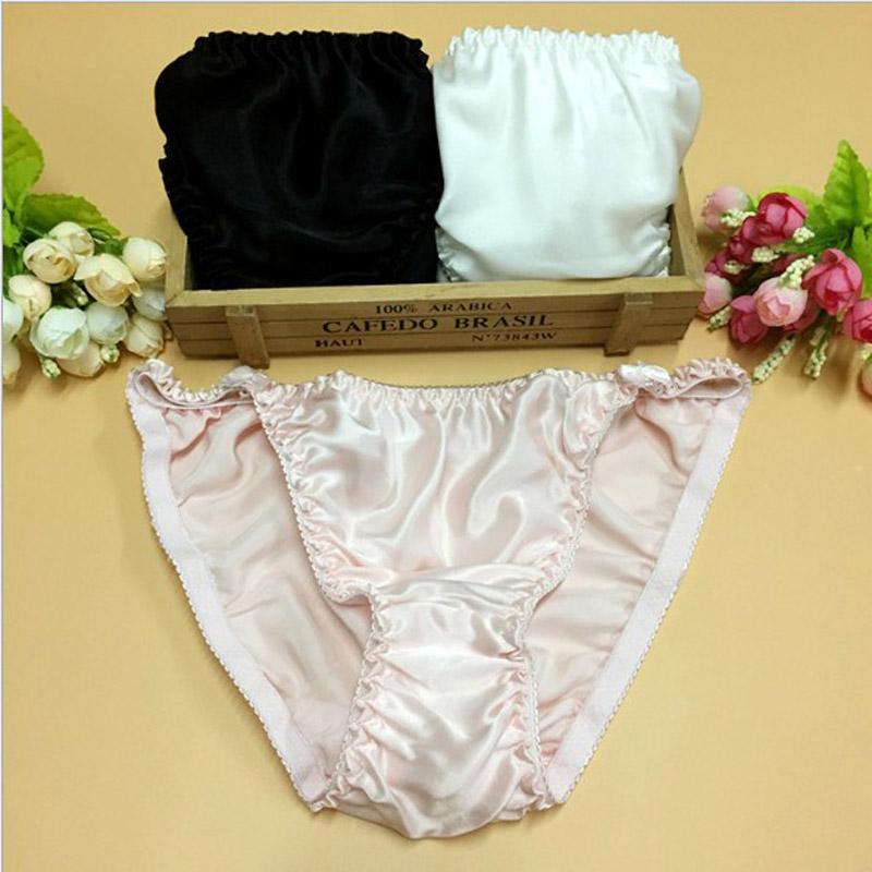Boa Qualidade Sexy Calcinha De Seda Pura Mulheres Roupa Interior 100% Amoreira Briefs De Seda Arco Low-cintura Lingerie T Tangas M / L