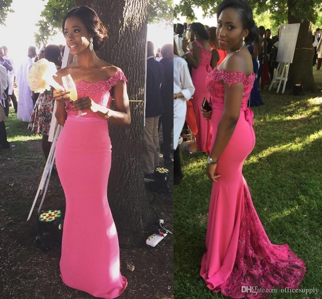 Hot Pink Plus Size Lace Bridesmaid Dresses 2018 Off Shoulder African Mermaid Maid Of Honor Gowns Sweep Train Formal Party Dresses