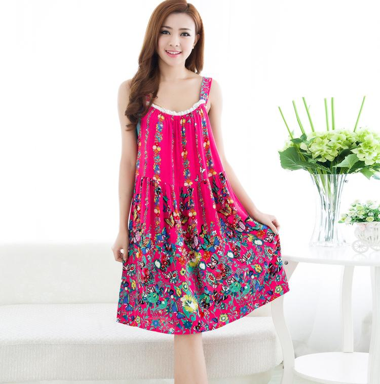 Wholesale- Women Cotton Nightgown Sleeveless Night Shirt Floral ...