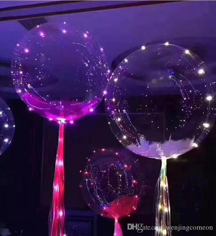 크리스마스 장식 빛나는 Led 풍선 다채로운 투명 한 라운드 버블 장식 파티 결혼식 풍선 조명 어둠 3m 문자열에서