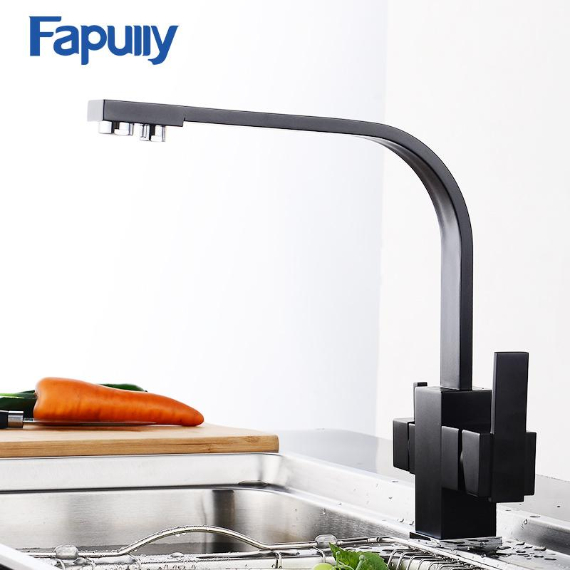Fapully Black Kitchen Faucet Square Sink Mixer Drinking Water Cranes - Black faucet for kitchen